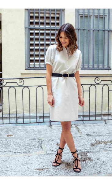 Robe française beige sable avec manches bouffantes | Icareña Création made in France