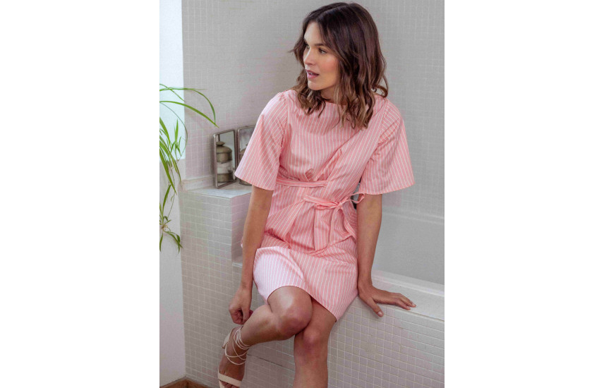 Robe double ceinture made in France coton GOTS | Icareña Création made in France