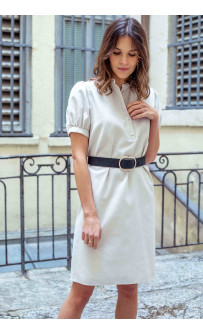 Robe chemisiers manches courtes ballon coupe droite Made in France | Icareña Création made in France |Slow fashion